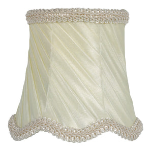 UpgradeLights Eggshell Pleated Swirl Silk 3 Inch Drum Chandelier Lamp Shade