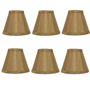 UpgradeLightsÌÎå«Ì´å Tan Silk Chandelier Lamp Shade|  Set of Six Shades|  5 Inch Empire |  Clips Onto Bulb. (Tan Silk)