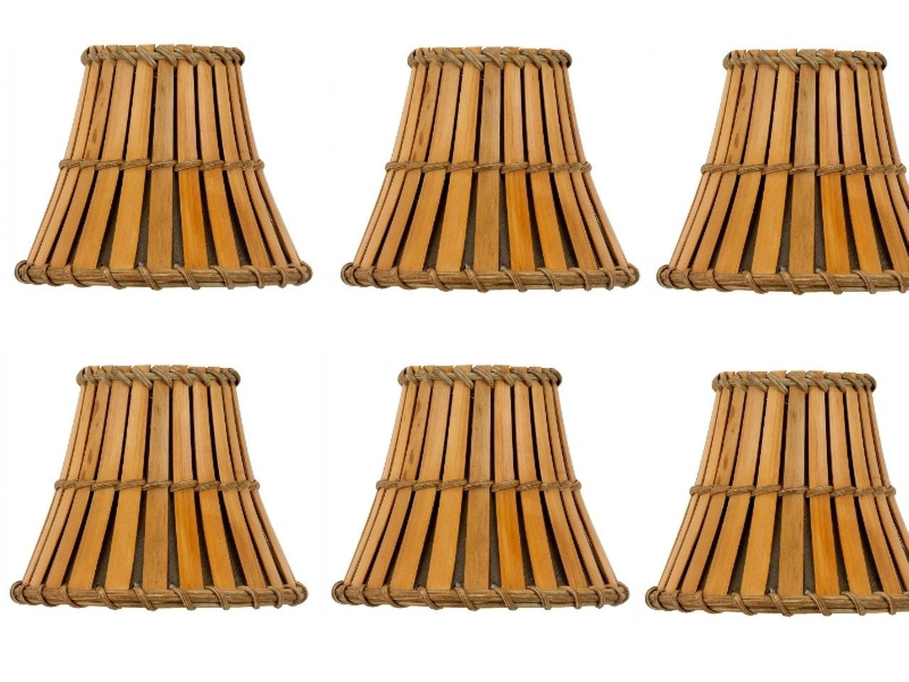 Set of 6 bamboo style 5 inch mini chandelier shades clip on shades upgradelights set of 6 bamboo style 5 inch mini chandelier shades clip mozeypictures Image collections