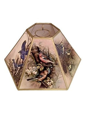 Bird Motif Printed Panel with Gold Trim 10 Inch Hex Chimney Style Lampshade