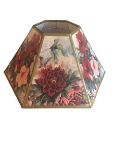 White Floral Hex 10 Inch Chimney Fitter Lampshade Replacement 4.5x10x5.25
