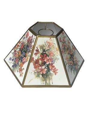 Upgradelights White with Gold Floral Hex 14 Inch Chimney Fitter Lampshade Replacement 5 X 14 X 7.5