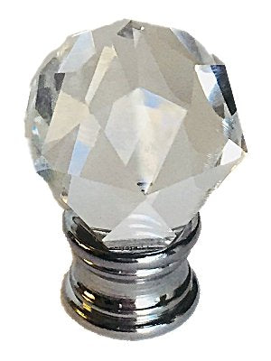 Clear Faceted Orb Crystal Finial with Polished Chrome Base