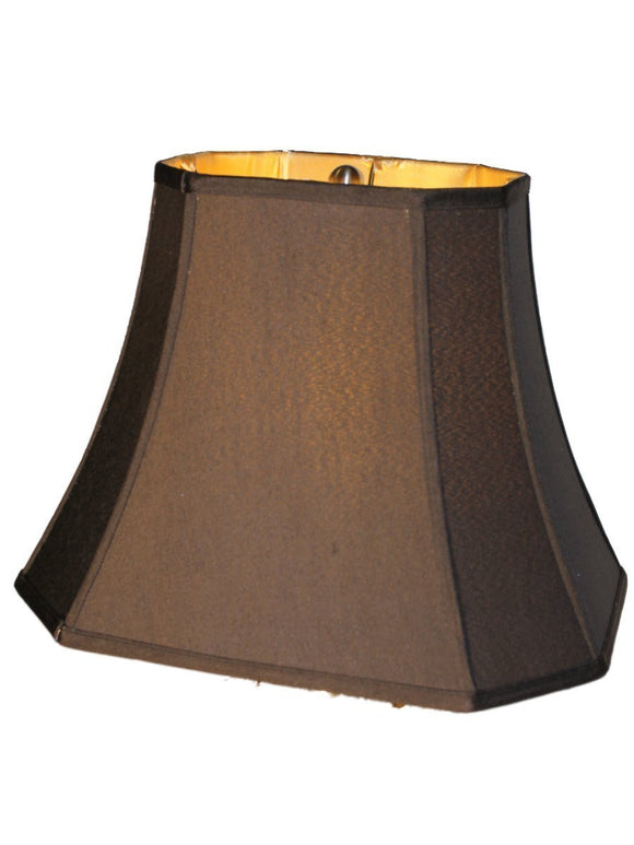 UpgradeLights 16 Inch Silk Shantung Black Lamp Shade Rectangle Cut Corner Gold Fabric Lining
