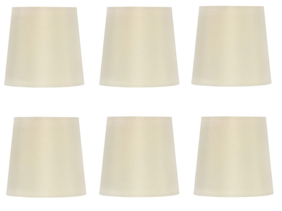 UpgradeLights Set of 6 Silk Chandelier Lamp Shades 5 Inch Euro Style Drum Eggshell Silk