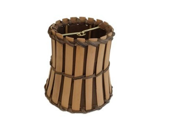 Upgradelights Bamboo Style Mini 4 Inch Clip on Chandelier Lamp Shade (2.5x4x4.25)