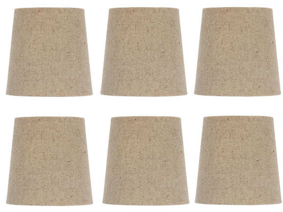 UpgradeLights Beige Burlap 5 Inch European Drum Style Chandelier Lamp Shades (Set of 6)
