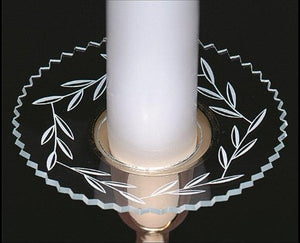 Upgradelights Clear Glass Bobeche with Etched Design Candle Ring Wax Catcher