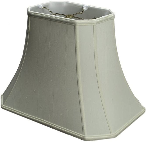 Eggshell Shantung Silk 18 Inch Rectangle Cut Corner Lamp Shade with Matching Harp and Finial