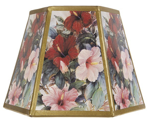 Upgradelights Floral Printed Panel 8 Inch Hex Clip On Lampshade