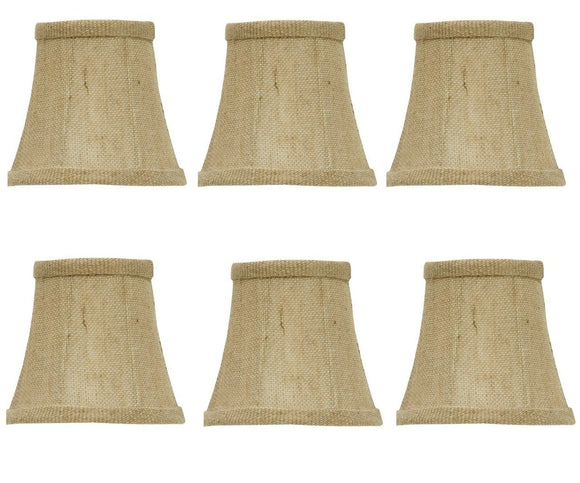 UpgradeLights Set of 6 Chandelier Lamp Shades 4 Inch Sand Belgium Linen Barrel Drum