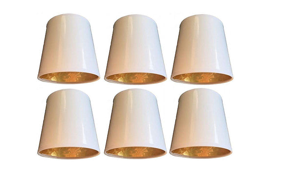 Upgradelights Set of 6 White with Gold 6 Inch Clip On Chandelier Lampshades