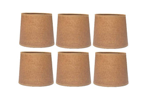Oiled Parchment 6 Inch Tapered Drum Clip On Chandelier Shades (Set of Six) 5x6x5