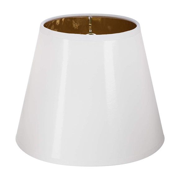 White with Gold Interior 12 Inch Washer Fitter Lampshade Replacement with Matching Harp and Finial