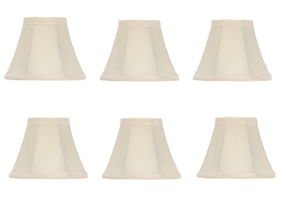 UpgradeLights Set of 6 Chandelier Lamp Shades Bell Shape 5 Inch Eggshell Silk