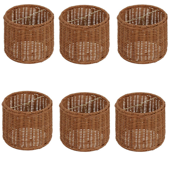 UpgradeLights Medium Brown Wicker 5 Inch Retro Drum Chandelier Lamp Shade (Set of 6).