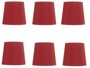 Upgradelights Crimson Red Five Inch Clip on Chandelier Lampshades (Set of 6)