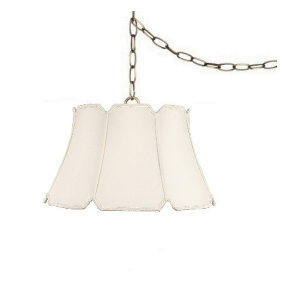 UpgradeLights White Eggshell Silk 17 Inch V-Notch Portable Swag Lamp Shade