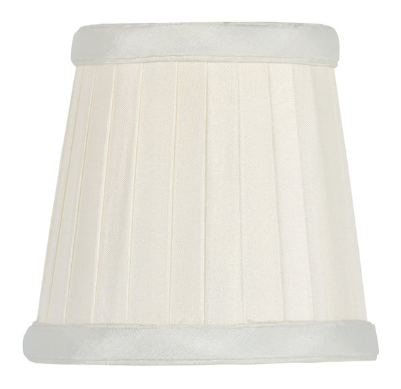 UpgradeLights White Eggshell Pleated Silk Clip On Chandelier Lamp Shade