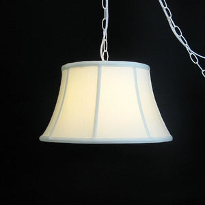 UpgradeLights White Eggshell Silk 17 Inch Flared Drum Portable Swag Lampshade