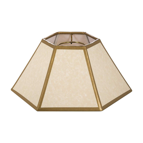 Off White with Gold Trim 10 Inch Hex Chimney Fitter Lampshade (4.75 X 10 X 5.5)
