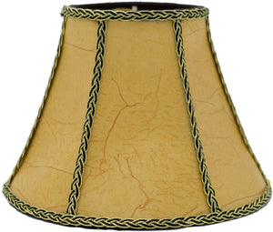 Upgradelights Aged European Parchment with Braided Black and Gold Trim 8 Inch Clip On Chandelier Lampshade 4x8x6