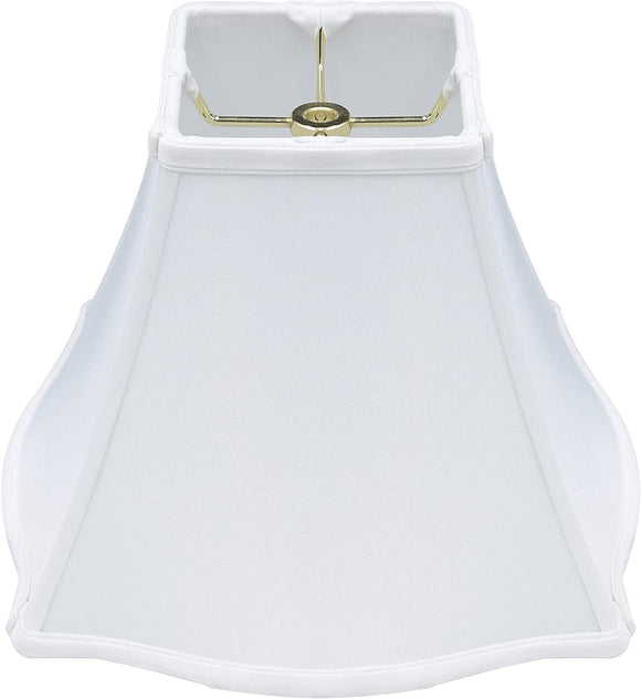 White Silk 12 Inch Pregnant Bell Lamp Shade with Matching Harp and Finial