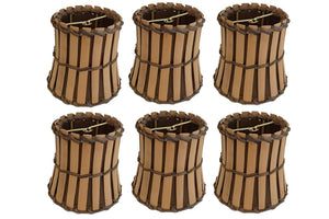 Upgradelights Set of Six Bamboo Style Mini 4 Inch Clip on Chandelier Lamp Shade (2.5x4x4.25)