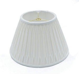 Cream Silk Transitional Bell Double Smocked Pleat Lamp Shade with Washer Fitter