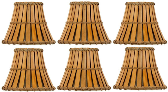 Bamboo Style 6 Inch Mini Clip On Chandelier Lamp Shades (Set of 6)