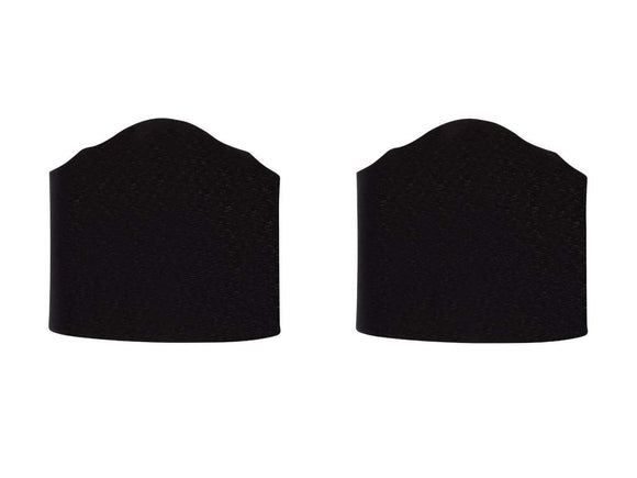 UpgradeLights Black Fabric 6 Inch Wall Sconce Shield Lamp Half Shades (Set of 2)