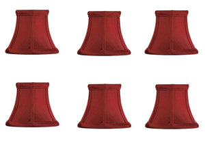 Upgradelights Red Silk 4 Inch Empire Clip on Chandelier Lampshade