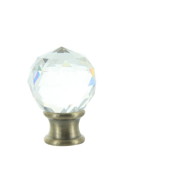 Upgradelights Clear Faceted Crystal Orb Finial with Antique Brass Base