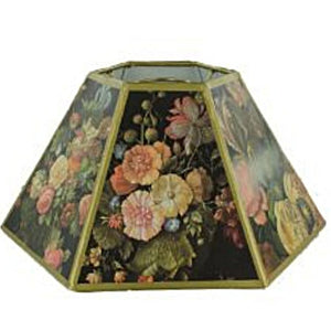 UpgradeLights Black Floral 12 inch Hex Shaped Chimney Style Oil Lampshade Replacement