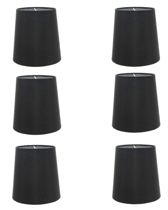 Set of 6 Silk Chandelier Lamp Shades 5 Inch Euro Style Drum Black Silk