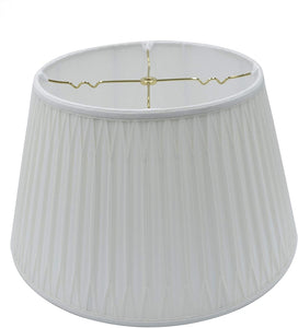 Cream Silk Double Smocked Pleat Shallow Drum Floor Lamp Shade