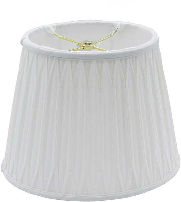Cream Silk Oval Double Smocked Pleat Lamp Shade with Washer Fitter