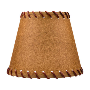 Oiled Parchment 10 Inch Empire Clip On Lamp Shade with Stitched Trim