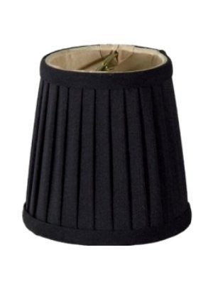 UpgradeLights Black Pleated Silk with Gold Interior 4 Inch Barrel Drum Clip On Chandelier Lampshade