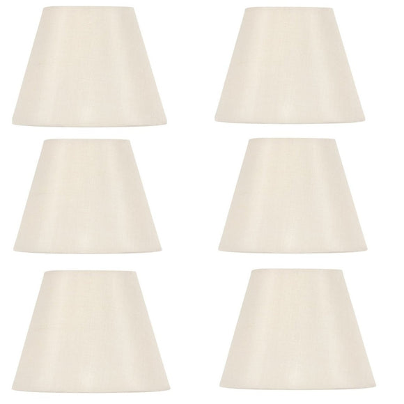 Upgradelights White Silk 4 Inch Retro Drum Clip On Chandelier Lampshades (Set of 6)