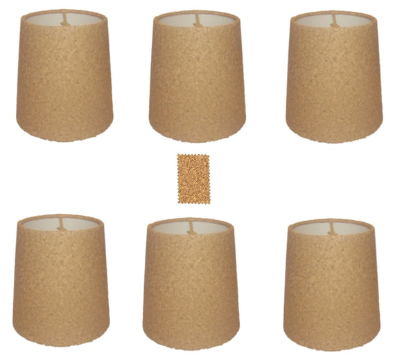 UpgradeLights Natural Cork 4 Inch Retro Drum Chandelier Lamp Shades (Set of Six)