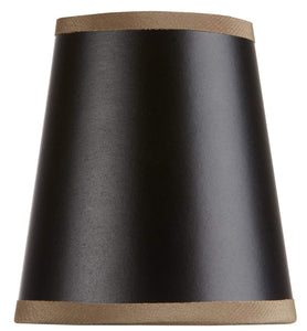 Black with Gold Trim 4 Inch Clip On Chandelier Lamp Shade