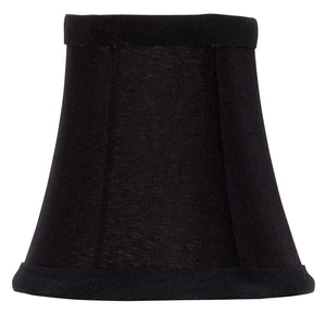 Black Silk with Gold Interior 4 Inch Bell Clip On Chandelier Lampshade