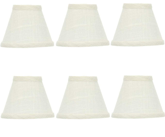 UpgradeLights Set of 6 Linen Five Inch Chandelier Lamp Shades in Off White Linen