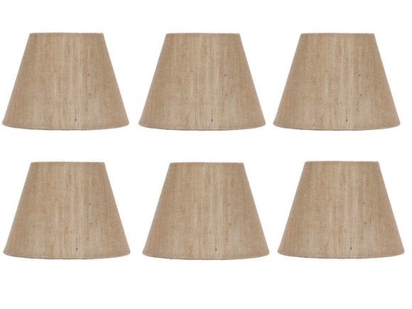 UpgradeLights Beige Belgium Linen 6 Inch European Drum Style Chandelier Lamp Shades (Set of 6)