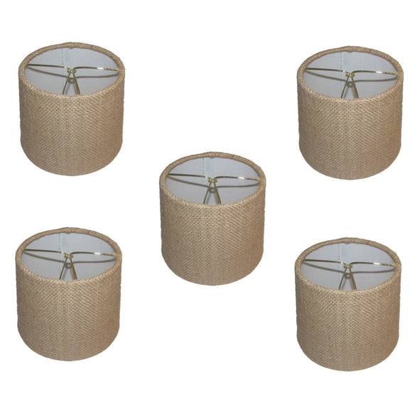 UpgradeLights Set of Five with Burlap Chain Cover 6 Inch European Drum Style Chandelier Lamp Shade Mini Shade Natural Burlap Fabric (6inch)
