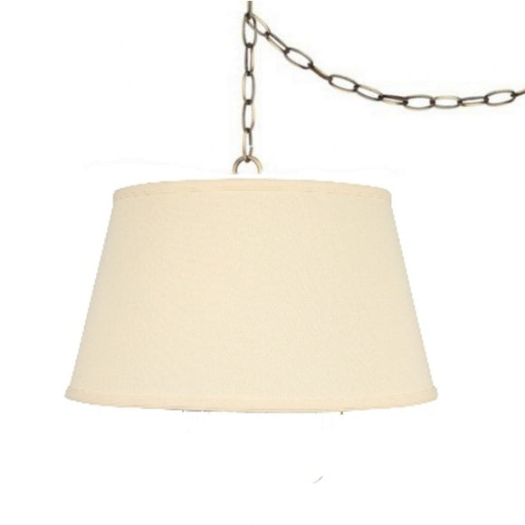 UpgradeLights Beige Linen 19 Inch Drum Portable Swag Lampshade