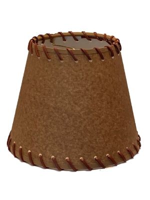 Oiled Parchment 8 Inch Empire Clip On Lamp Shade with Stitched Trim