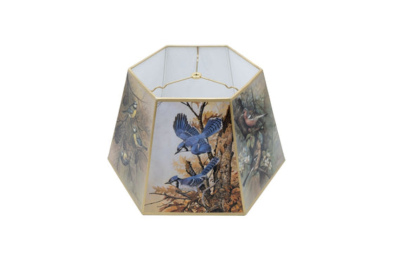 Bird Motif 18 Inch Hex Floor Lamp Shade Replacement (12 X 18 X 10.75)