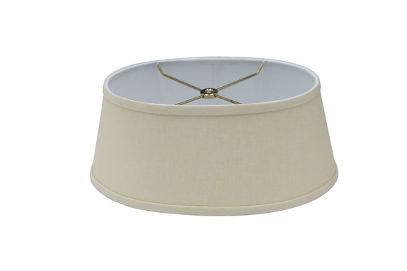 Beige Linen 12 Inch Oval Bouillotte Style Lamp Shade Replacement